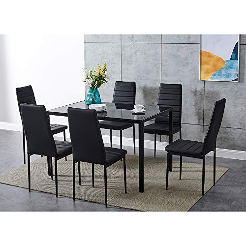 Dining Table and Chairs 6 Seater with Glass Room Leather Kitchen Furniture Set (Black Table120cm + 6 Black Chair)