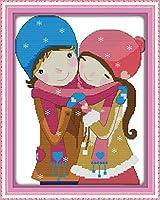 DIY クロスステッチキット、手作り刺繍キット 、図柄印刷 初心者 ホーム装飾 、壁の装飾 、クリスマス プレゼント, 甘いカップル 40x50cm