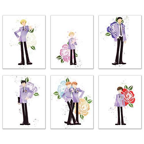 Watercolor Ouran High School Host Club Prints - Set of 6 (8x10) Glossy Anime Wall Art Decor - Haruhi Fujioka - Tamaki Suou - Hikaru and Kaoru Hitachiin - Honey-Senpai - Takashi Morinozuka - Kyoya Ooto