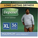 Depend FIT-Flex Incontinence Underwear for Men, Maximum Absorbency, Disposable, Extra-Large, 36 Count