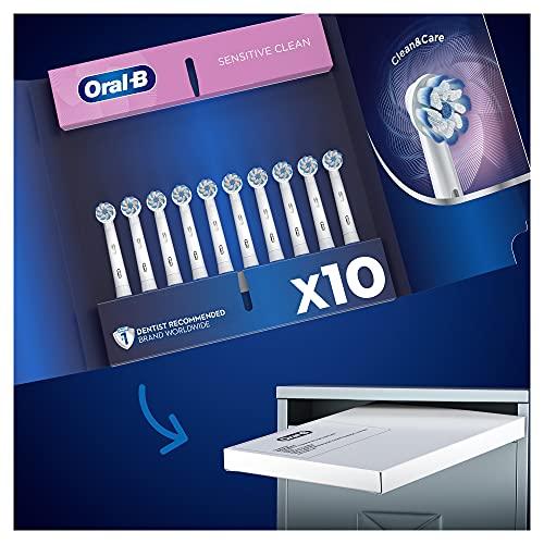 Oral-B Sensitive Clean Testine di Ricambio per Spazzolino Elettrico, Confezione da 10 Pezzi, Pacco Adatto alla Buca delle Lettere