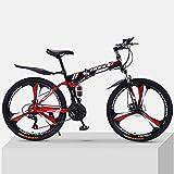 Bicicleta De Montaña Adulto Plegable 24 26 Pulgadas Doble Amortiguación Off-Camino Velocidad Variable Bicicleta para Hombres Y Mujeres,27-Velocidad,-Rojo B 24inch