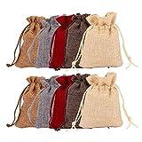 Lsydgn 30 Piezas Saco de Yute Saco de Yute Rojo Bolsa de Yute con cordón Durable, fácil de Limpiar, Reutilizable, Adecuado para empastes, Bodas, envases de artículos pequeños o Decoraciones de Mesa