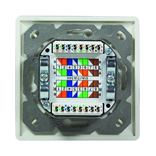LogiLink Professional NP0023 RJ45 Cat.6 Anschlussdose (Unterputz) 2x RJ45 Stp (Vollgeschirmt) mit 40° Auslass