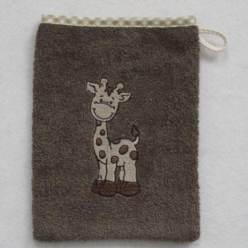 Wörner Gant de toilette en éponge 15 x 20 cm, Giraffe hellbraun, 15 x 20 cm