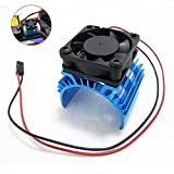 JFtech Aluminum Electric Motor Heat Sink Heatsink with 5V Cooling Fan for HSP Tamiya Traxxas RC 1/10 Car Truck...