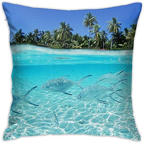 BONRI Throw Pillow Case, Graffiti Pillow Cover, Funda de Almohada Decorativa Cojín Cuadrado para sofá Sofá Coche 16x16-Palmeras