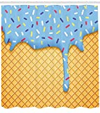Presock Ice Cream Duschvorhang, Waffle Backgro& with Sky Blue Flavor Yummy Sweet Summer Seasonal Artful Design, Fabric Bathroom Decor Set with Hooks, 60 x 72Inch Extra Wide, Apricot