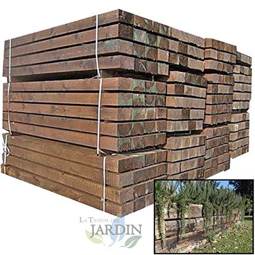 TRAVIESA DE MADERA PARA JARDIN. Color marrón oscuro, madera tratada. (22x12x120 cm): Amazon.es: Bricolaje y herramientas