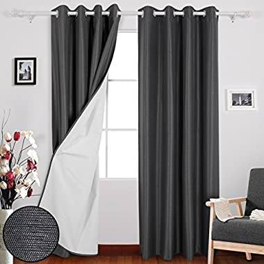 Deconovo Grommet Top Striped Textured Blackout Curtains with Coated Thermal Insulated Lining for Living Room Beige 52W x 95L inch 2 Panels