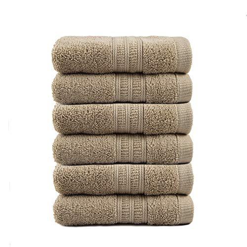 TRIDENT Soft Comfort Handtücher aus 100% luftreichem Baumwollgarn, 6-teiliges Set - 6 Waschhandtücher, superweich, hochsaugfähig, maschinenwaschbar (Sand)