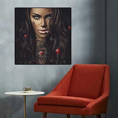 No frame Cool Girl Tattoo Pictures Pop Art Abstract Modern Canvas Schilderij Graffiti Street Sex Women Portrait Wall Art For Room 60x60cm