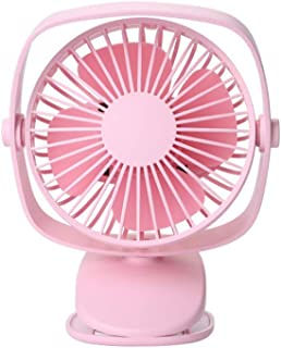 HLJgift Portable DEST Table Stroller Personal Fan Rechargeable Battery Operated 360 Degree Rotation 3 Speeds for Home Office Baby Carriage Bed Car Laptop Study Gym Camping Tent Pink