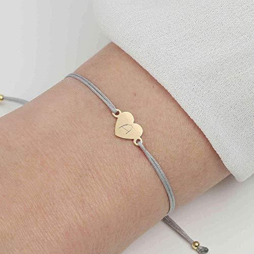 SCHOSCHON Damen Armband Herz 925 Silber vergoldet Hellgrau mit individueller Gravur // personalisierbar 20 Farben Gravurarmband Schmuck Geschenk
