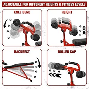 STOZM Adjustable Sit Up Bench / Weight Bench, Workout Station with Large Backrest for Full-Body Workout & Strength Training - Support up to 330lbs (Red), H10H