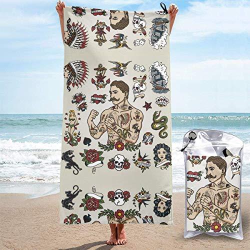 Toallas de Playa sin Arena Tattoo Flash Set con Tattoo Hipster Man Toallas de Playa de Secado rápido Toalla de baño Toalla de Playa de Viaje, Toalla Deportiva de natación para Adultos