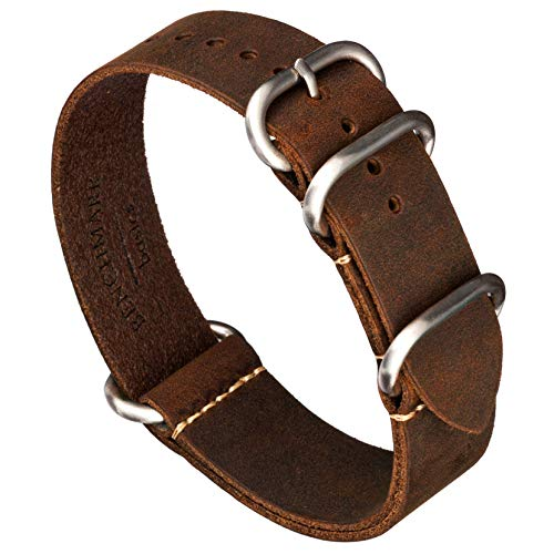 Benchmark Basics Leather Watch Band - Zulu Crazy Horse Oiled Leather Military Style One-Piece Watch Strap - 18mm Dark Brown