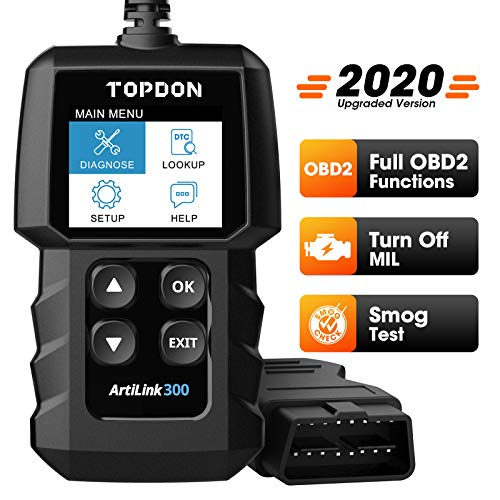 OBD2 Scanner OBDII Car Engine Fault Code Reader TT TOPDON AL300, Can Diagnostic Scan Tool with Full OBD2 Functions to Turn Off Check Engine Light, Help Smog Test, with Mode 6, Mode 8, for DIYers, Home Mechanics