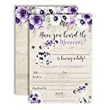 Watercolor Purple Floral Cow-Themed Baby Sprinkle Shower Invitations, 20 5'x7' Fill in Cards with Twenty White Envelopes by AmandaCreation
