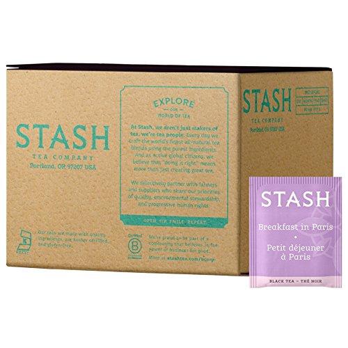 Stash Tea Breakfast in Paris Black Tea, 100 Count Box of Tea Bags in Foil Individual Black Tea Bags for Use in Teapots Mugs or Cups, Brew Hot Tea or Iced Tea