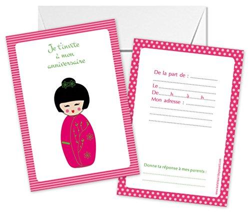 Lot de 5 cartes d'invitation anniversaire thème Kokeshi