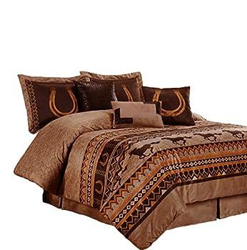 Chezmoi Collection Sedona 7-Piece Southwestern Wild Horses Microsuede Bedding Comforter Set  Queen