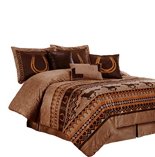 Chezmoi Collection Sedona 7-Piece Southwestern Wild Horses Microsuede Bedding Comforter Set (Full), Brown