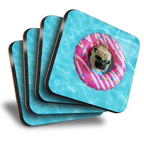 Destination Vinyl ltd Great Posavasos (juego de 4) cuadrados – fiesta de piscina, cachorro, donuts, bebida, posavasos/protección de mesa para cualquier tipo de mesa #16011