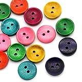 Sadingo Bunte Knöpfe 15mm 50 Stück, Holzknöpfe für Kinderbekleidung, Baby Knöpfe, Deko Knöpfe, Holz Knopf Set Mischung