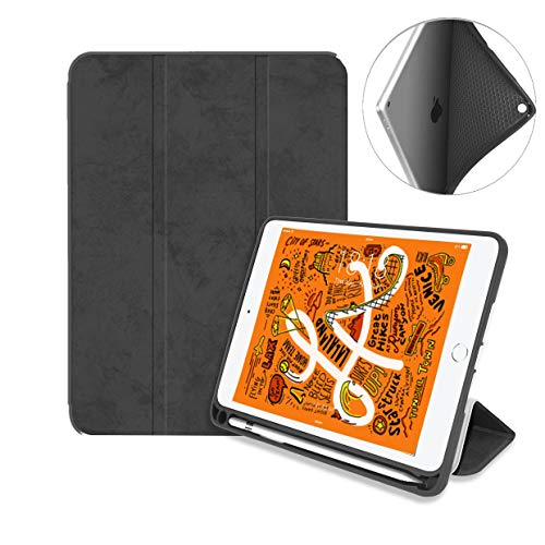 LittleForest Premium Leather Trifold Stand Case Compatible for New iPad Mini 5th Gen 2019 7.9-inch, Lightweight Soft TPU Cover for iPad Mini 5 with Pencil Strap Holder -Black