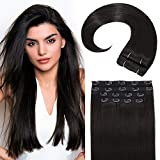 Sué Exquisite 4PCS 20 inches Long Straight Natural Black Thick Hair Pieces Clip in on Hair Extensions Synthetic Fiber Double Weft Soft Hair for Women Full Head