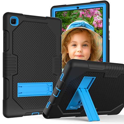 A-BEAUTY - Funda para Samsung Galaxy Tab A7 10.4 2020 (SM-T500/T505), resistente a golpes, soporte con protector de pantalla, lápiz capacitivo, color negro y azul