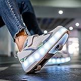 Zapatillas De Patinaje Sobre Ruedas Con Ruedas Con Luces LED Doble Rueda Zapatillas De Skate Técnicas Luminosas Zapatillas De Gimnasia Al Aire Libre Con Carga USB Unisex A,39