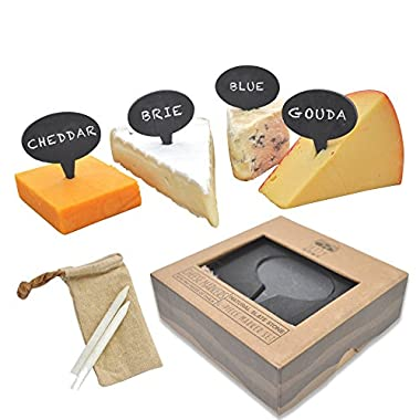 Jetty Home 4 Piece Chalkboard Cheese Marker & Label Gift Set with Chalk, Slate