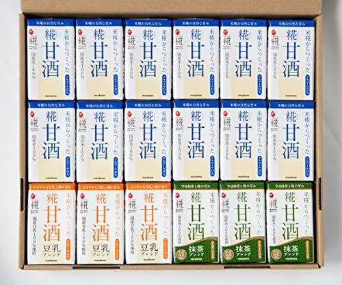 甘酒 【マルコメ】 プラス糀 糀甘酒お試しセット 【国産米100%使用】 プレーン12本 豆乳ブレンド3本 抹茶ブレンド3本 計18本 125ml