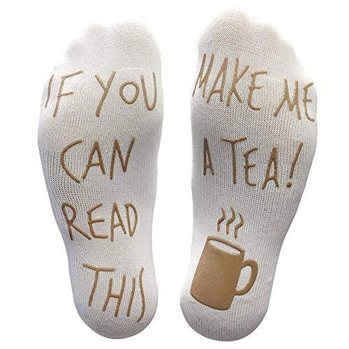XIYAO Wenn Sie dies lesen können, bringen Sie mir ein Tee Socken Neuheit lustige Socken für Männer Frauen Geschenke