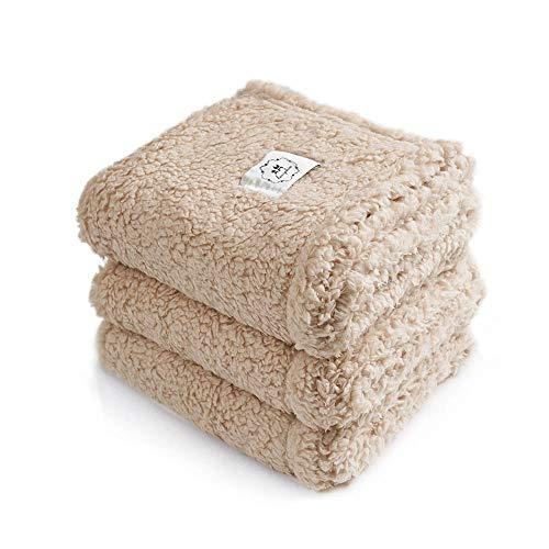 1 Pack 3 Decken Super Weich Premium Flauschig Hundedecke Katzendecke für Haustier Hunde Katze Welpe Beige M(52*76 cm)