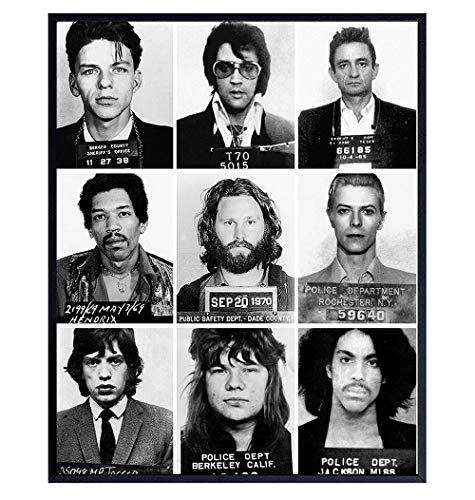 Famous Musicians Mugshot Photo - 11x14 Gift for Johnny Cash, Jimi Hendrix, Prince, David Bowie, Elvis, Mick Jagger, Janice Joplin, Frank Sinatra, Jim Morrison Fan - Wall Art Home Decor Poster Prints