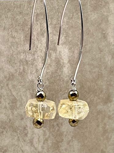 Pendientes de citrina amarilla y pirite dorada, plata 925, pendientes colgantes largos, estilo minimalista, joyas de piedras semi preciosas, regalo para mujer