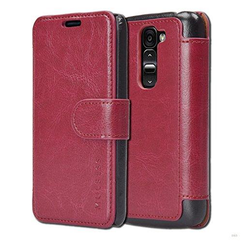 Mulbess Handyhülle für LG G2 Mini Hülle Leder, LG G2 Mini Handy Hüllen, Layered Flip Handytasche Schutzhülle für LG G2 Mini Hülle, Wein Rot
