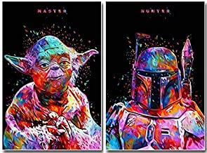 Two Packs,Star Wars Full Drill Diamond Painting 5D DIY Diamond Embroidery Cross Stitch Rhinestone Art Craft Classic Movie Pictures Mosaic Painting Home Wall Decoration (12X16IN/30X40CM),C