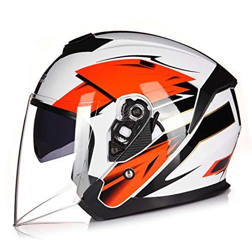 BUETR Casco de automóvil eléctrico motocicleta de doble lente medio casco antivaho medio casco batería casco de seguridad para automóvil casco todoterreno-M_Little Lucky + espejo transparente