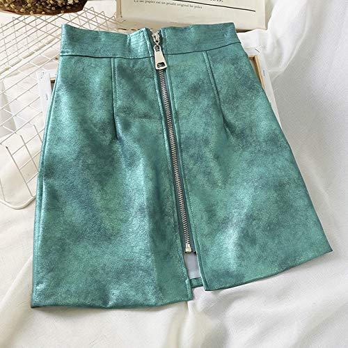 MIBKLPG Frauenrock Leder Hohe Taille Reißverschluss Röcke Mode Vintage Weiblich A Linie Minirock S Himmelblau