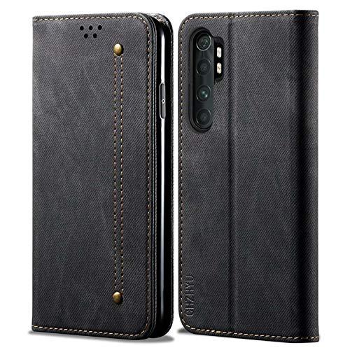 CHZHYU Funda para Xiaomi Mi Note 10 Lite,Antigolpes Genuino Cuero Flip Folio Carcasa[Magnético][Soporte Plegable][Ranuras para Tarjetas] para Xiaomi Mi Note 10 Lite (Negro)