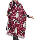 Elaine-Shop Border Collie Blue Merle Peppermint Stick Candy Canes Winter Snowflakes Dog Ruby Shawl Wrap Winter Warm Scarf Cape Cashmere Scarf Wrap