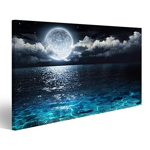 islandburner Cuadro Cuadros Panorama romántico y escénico con Luna Llena en el mar hasta la Noche Genial y Muy Bonito! NAP