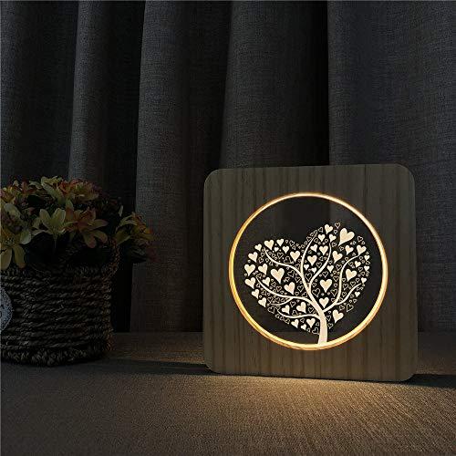 Love Tree 3D LED Lámpara de noche de acrílico Lámpara de mesa Lámpara de talla para ns Room Decorate