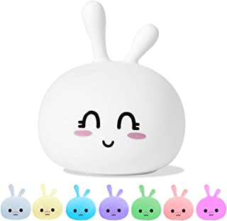Bunny Baby Night Light, Cute Animal Rabbit Silicone Nightlight for Kids Baby Girls Boys, 7 Colors & Tap Sensor Soft Silicone Toddler Nursery Night Lamp (Smiling Eyes)