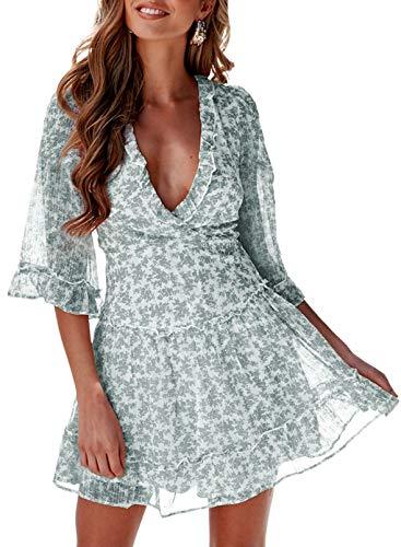 FOBEXISS Las mujeres de la moda de verano cuello en V manga 3/4 fluido mini vestidos de volantes con estampado floral en capas de encaje hasta vestidos