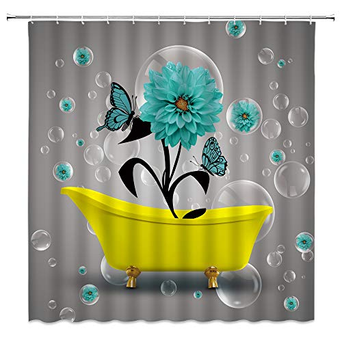 """Dahlia Shower Curtain Teal Flower Butterfly in Yellow Bathtub Bubble Dream Creative Rustic Plant Modern Unique Fabric Bathroom Decor Set with Hooks,Teal Yellow(70"""" WX70 H)"""